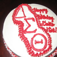 Delta Girl Red and White Delta Sigma Theta Birthday Cake. Strawberry Cake with Cream Cheese Transfer. TFL!!!