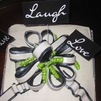 Live Laugh Love Inspiration WASC with BC and black and whtie fondant bow,pearlized accents this was my first attempt.
