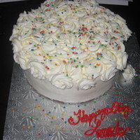 Party Fun   White Cake with White buttercream rosettes and party sprinkles. TYFL!