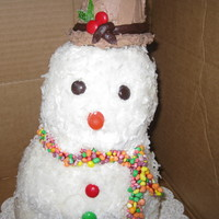 Snowman Cake   Snowman cake, white cake with white buttercream, coconut...totally edible
