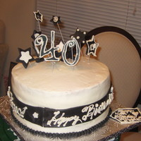 Black & White Birthday Cake Sour Cream Pound Cake Buttercream with MMF accents in Black and white.