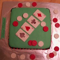 Poker Birthday Chocolate cake covered in fondant, molded chocolate cards and coins