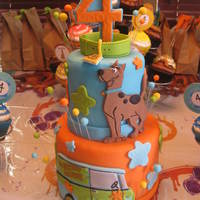 "Scooby Doo Cake Dummy 4""/6"" dummy tiers made as a centerpiece for a Scooby Doo birthday party. I made coordinating cupcakes for everyone to eat."