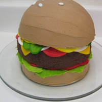 "Cheeseburger Cake 3 layers of dark chocolate fudge cake - all 6"" pans. The top layer was baked in the Wilton ball pan for the rounded top bun. Iced in..."