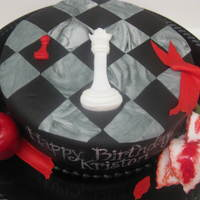 "Twilight Series Cake 8"" double layer red velvet (of course!) cake covered in Duff's black fondant. All fondant accents including the apple &..."