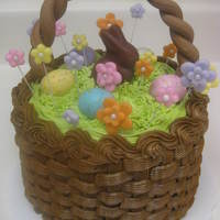 "Easter Basket Cake Double layer 6"" cake (one layer strawberry, one layer orange) with buttercream basketweave & grass. Fondant handle & wired..."