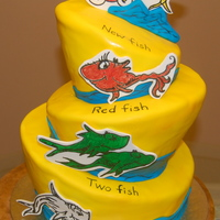One Fish, Two Fish My First Topsy Turvy cake! All decorations are made of gumpaste and hand drawn.