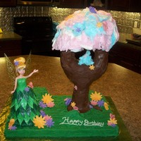 Tinkerbell Pixie Hollow  I made this cake for my daughters 4th birthday. The pixie dust tree is made out of pvc pipe, RKT, chocolate fondant, cake, and cotton candy...