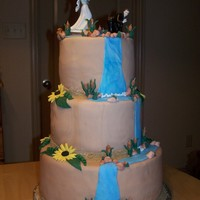 Rustic Fishing/outdoors Themed Wedding Cake