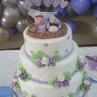 Bird Wedding Cake! For my friend's purple & white wedding party.
