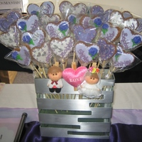 Cookie Fowers For Wedding Party. Gingerbead on stick. With purple & white foundant