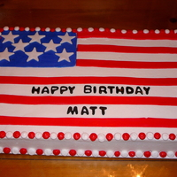 Flag Cake This was done for a birthday and welcome to the US cake. Buttercream base icing with fondant start, stripes and blue background