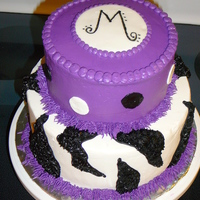 Funky Purple Zebra Buttercream base icing with fondant accents