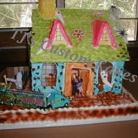 Haunted Scooby Doo/retro   Full Sheet Bottom. W/W Facade on cake w/Royal Icing.AB, Retro Colors, (not my choice) Fun Cake to makeBTW House tilted on purpose!