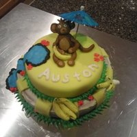 Auston's Smash Cake   My son's 1st smash cake, for his 1st birthday. Monkey/Jungle themed. Wilton boxed fondant and yellow boxed cake.