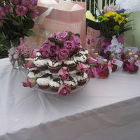 Wedding Shower   Chocolate cupcakes with white frosting and chocolate lace detail.