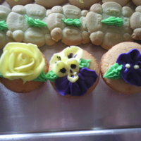 Springtime Phots  Was asked to do very simple pansies, roses, and sweet peas for a Springtime Bridal Shower. These are mini-cupcakes, piping is done with...