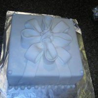 White Bow Very simple white boxed cake, white homemade buttercream fondant bow. For a small bridal shower.