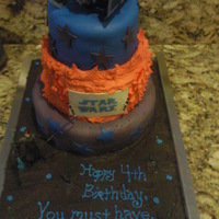 Star Wars Cake  Three tiered WASC buttercreme, and MM fondant cake. Bottom and top layers MM fondant, middle layer buttercreme. Cake topper and Figure...