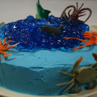 Under The Sea I made this for my birthday. It's a butter cake with buttercream icing and jelly water. The sea creatures are just plastic toys I...