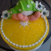 "Baby Butt Cake Legs and butt are cake, feet are fondant... The babys name was Lennon, so they were having a ""lemon"" themed shower! So ... Lemon..."