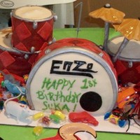 Drums-Myfirst Cake Thise was my first cake i etempted ... Ive learned ALOT since then!... This wa my sons 1st b-day cake .. of course I had to take on the...