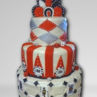 Poker Bday Poker themed bday cake, with a lil art deco style topper made out of royal icing