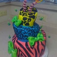 Topsy Turvey Zebra print inside too!... my 11 yr old step daughters b-day cake-