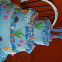 Ocean Cake  This was a cake for my 11 year old niece, who loves the ocean. I was trying to make dolphins, but they came out more like seals, so they...