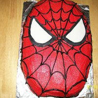 Spiderman A friends little boy wanted a spider man cake and I didn't have enough time to find the Wilton pan so I just made a spider man face....