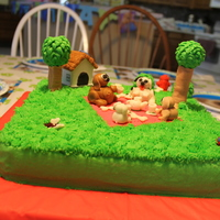 "Puppy Dog Tea Party I am 11. This was my 2nd ""professional"" cake order. It was for a little girl having a dog party. She had wanted a tea party so I..."