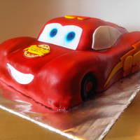 Lightning Mcqueen White almond cake with almond buttercream.