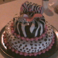 The Sexy Cougar Cake My mom is totally into animal print, pink and fashion so I created this cake for her birthday. Its a yellow cake filled with bc and fondant...