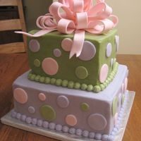 Baby Shower Cake   In colors on infant's room. Buttercream iced cake with fondant bow