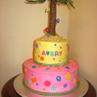 Chicka Boom Boom Cake   letters going up the coconut tree! BC iced cake with fondant letters and tree.