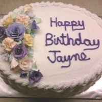 Birthday Cake For Jayne Made this for a co-worker's birthday. This was my first cake using gumpaste flowers. I didn't put them on until I got to the...