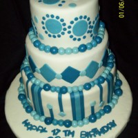 Blue And White Birthday Cake Made this cake for my son's 17th Birthday. Bottom tier is WASC/ Buttercream Dream BC; middle tier is White Velvet./ White Chocolate...