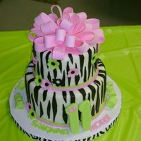 Zebra Birthday Cake 8 inch white chocolate/6 inch chocolate fudge/chocolate ganache/Michele Foster's White Chocolate fondant. Made this for my cousin'...