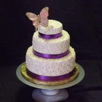 Butterfly Swiggle And Swirls Small 3 tier cake for a vendor event.