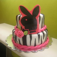 Girls Night Out Animal print with playgirl logo fondant and Gumpast. Thank you CC for your help on this cake and all my cakes.