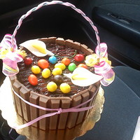 Happy Easter   Chocolate cake and frostin covered with kitkats, M&M on top to look like a Easter basket with eggs inside.