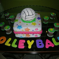 Dominguitos Volleyball Team   For my daughters volleyball team, the ball is chocolate cake and the bottom part almond cake buttercream and fondant.