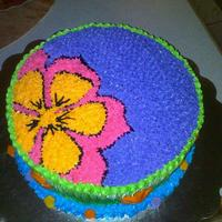 Flor Amapola Hawaian cake Royal Icing blue, green,purple,hotpink and orange. fondant sea shells and star fish.