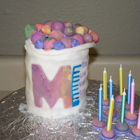 Science Beeker Cake I made this cake in a coffee can and covered it with fondant. We used multi colored fondant balls to look like molecules bubbling over. It...