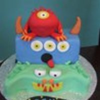 Monster Stack My nephew was turning 3, so 3 monsters seemed appropriate for his monster mash party :) Bottom cake vanilla caramel, middle chocolate/...