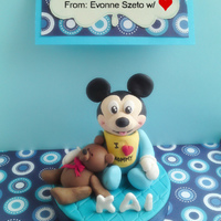 Baby Mickey Topper for a good friend's baby's 1st month celebration