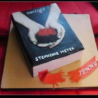 Twilight Book Cake My first book cake....and I didnt have picture of the finished product. Cant find a smaller sized tip for piping the author's name and...