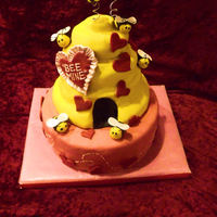 Bee Mine (Bee Hive) Valentine Cake Made Feb 10, 2010 for my daughter to take to her Valentines day preschool class party. It is all cake... The bottom is an 8 inch 2 layer...