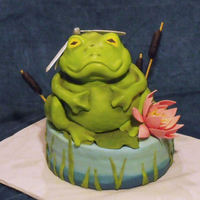 Frog Pond Cake With Lotus & Dragonfly Frog Pond Cakemarch 10th 2010Frog is all carved cake covered in fondant....he is sitting on top of a fondant lily pad on a 9 inch round...