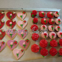 Valentine Cupcakes & Cookies Red velvet cupcakes with butter cream roses & heart shaped sugar cookies covered with marshmellow fondant and decorated with butter...